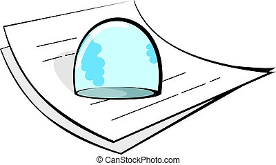 Illustration of a paperweight on op of papers