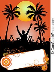 party placard with palms - illustration of a party placard...