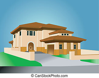 mediterrean style home - illustration of a pastel colored ...