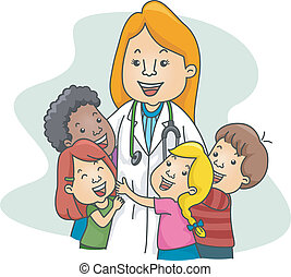 Illustration of a Pediatrician Surrounded by Kids