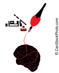 illustration of a pen writing with ink and the brain being decoded