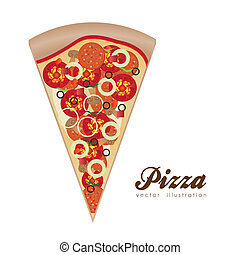 illustration of a pepperoni pizza isolated on white background, vector illustration