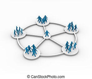 illustration of a person connected to different groups -...