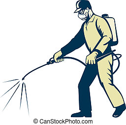 Pest control exterminator worker s - illustration of a Pest ...