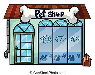 a pet shop - illustration of a pet shop on a white ...
