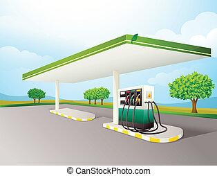 petrol pump - illustration of a petrol pump on a road