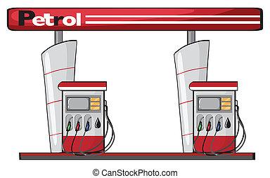 a petrol station - illustration of a petrol station on a...
