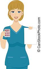 Pharmacist - Illustration of a Pharmacist Holding a ...