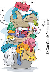 Stinky Laundry - Illustration of a Pile of Dirty and Stinky ...