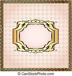 of a pink background framed with pearls and gold ornamentation