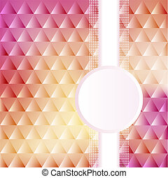 of a pink background with triangles and circles for text