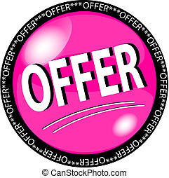 pink offer button - illustration of a pink offer button