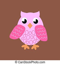 illustration of a pink owl on brown background color