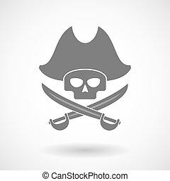 Illustration of a pirate skull