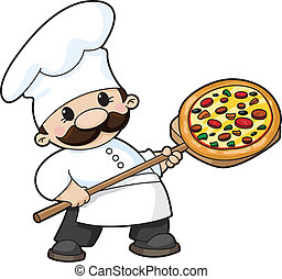 pizza chef - illustration of a pizza chef