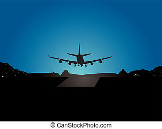 plane landing - Illustration of a plane landing with a ...