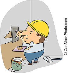 Plasterer - Illustration of a Plasterer at Work