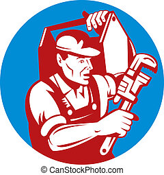 Plumber with monkey wrench and carrying toolbox -...