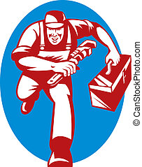 illustration of a Plumber with monkey wrench and toolbox...