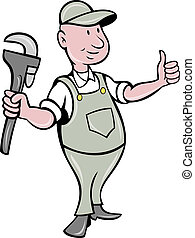plumber with monkey wrench thumbs up - illustration of a...
