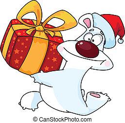 polar bear and gift box
