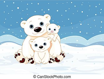 Polar Bear Family - Illustration of a Polar Bear Family on...