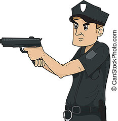 Policeman - Illustration of a Policeman Holding a Gun