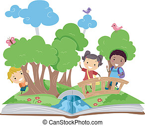 Pop Up Book - Illustration of a Pop Up Book with a Forest...