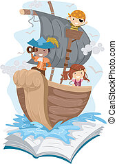 Illustration of a Pop Up Book with a Pirate Theme