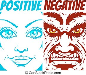 positive and negative - Illustration of a positive and...