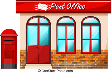 Post office - Illustration of a Post office on a white...