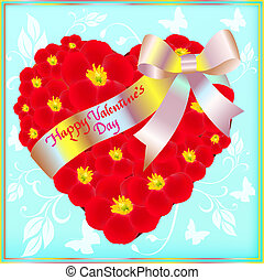 illustration of a postcard on Valentine's day with the heart of red flowers and a ribbon with a bow