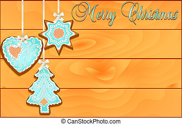 illustration of a postcard with cakes on Christmas wooden against the background of