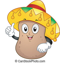 Potato Mascot - Illustration of a Potato Mascot Wearing a...