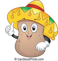 Potato Mascot - Illustration of a Potato Mascot Wearing a...