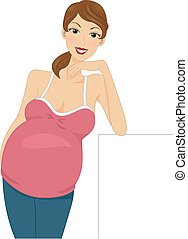 Pregnant Girl - Illustration of a Pregnant Girl Leaning on a...