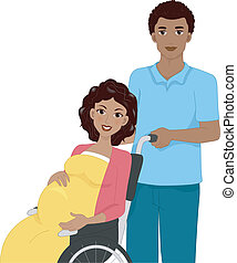 Pregnant Woman in a Wheelchair - Illustration of a Pregnant...