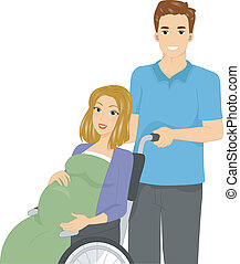 Illustration of a Pregnant Woman in a Wheelchair