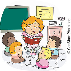 Illustration of a Preschool Teacher at Work