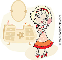 illustration of a pretty cartoon girl with a hand mirror