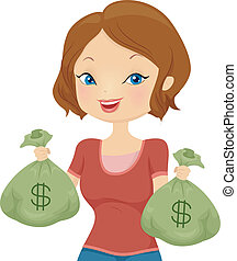 Cash Bags - Illustration of a Pretty Girl Carrying Cash Bags