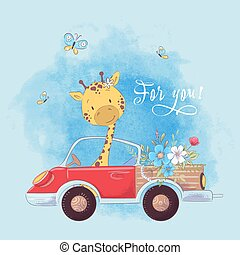 Illustration of a print for the children's room clothes cute giraffe on the truck with flowers.