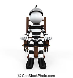 Illustration of a Prisoner in an Electric Chair isolated on white background.3D render