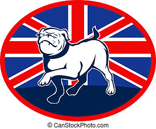 illustration of a Proud English bulldog marching with Great Britain or British flag at background set inside an oval.