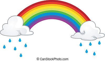 Rainbow - Illustration of a Rainbow Hiding Behind Rainclouds