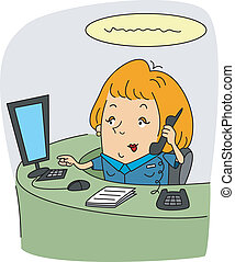 Illustration of a Receptionist at Work
