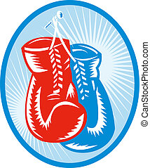 red and blue boxing gloves with sunburst in background. -...