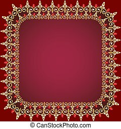 illustration of a red background frame with pearls, gold ornaments