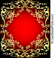 red background is a frame with gold ornamentation -...
