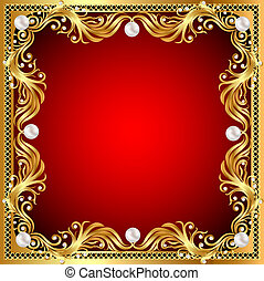 of a red background with pearls, gold ornaments